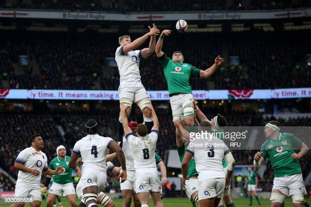 George Kruis of England fails to win a line out ball during the NatWest Six Nations match between England and Ireland at Twickenham Stadium on March...