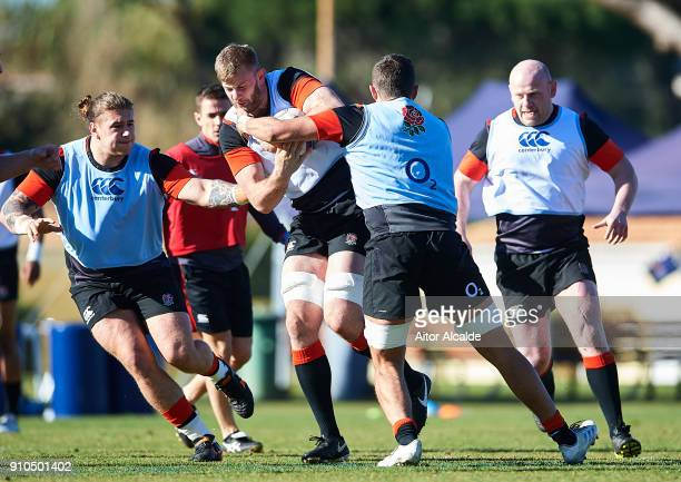 George Kruis of England in action during their training session as part of the England Media Access on January 26 2018 in Albufeira Portugal