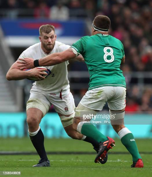 George Kruis of England is tackled by CJ Stander during the 2020 Guinness Six Nations match between England and Ireland at Twickenham Stadium on...
