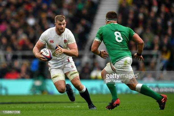 George Kruis of England is takes on CJ Stander of Ireland during the 2020 Guinness Six Nations match between England and Ireland at Twickenham...