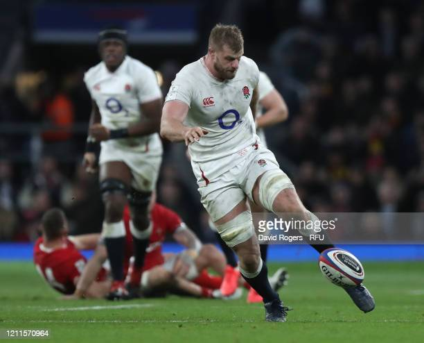George Kruis of England kicks the ball upfield during the 2020 Guinness Six Nations match between England and Wales at Twickenham Stadium on March...