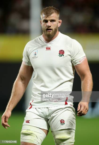 George Kruis of England looks on during the Rugby World Cup 2019 Group C game between England and Tonga at Sapporo Dome on September 22, 2019 in...