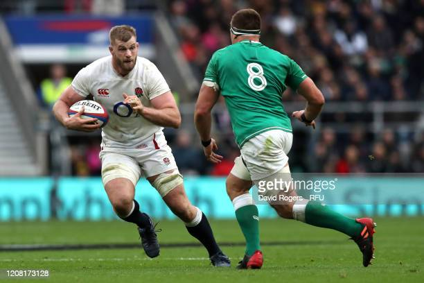 George Kruis of England takes on CJ Stander of Ireland during the 2020 Guinness Six Nations match between England and Ireland at Twickenham Stadium...