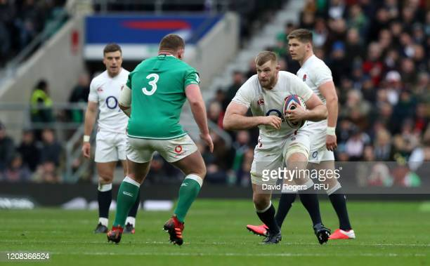 George Kruis of England takes on TadhgFurlong during the 2020 Guinness Six Nations match between England and Ireland at Twickenham Stadium on...