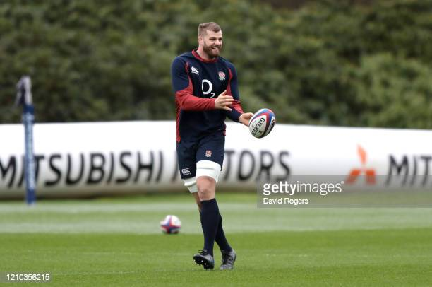 George Kruis of England trains during a training session ahead of their Guinness Six Nations match against Wales at Pennyhill Park on March 04, 2020...