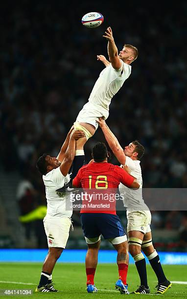George Kruis of England wins a lineout ball during the QBE International match between England and France at Twickenham Stadium on August 15 2015 in...