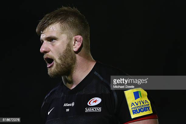 George Kruis of Saracens during the Aviva Premiership match between Bath Rugby and Saracens at the Recreation Ground on April 1 2016 in Bath England
