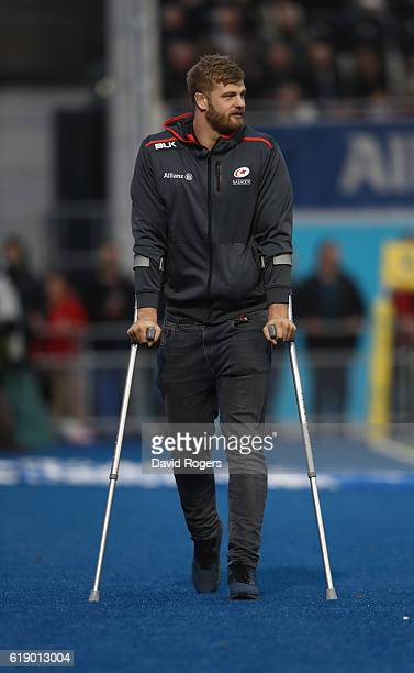 George Kruis of Saracens who will miss the Autumn internationals due to an operation on his leg looks on during the Aviva Premiership match between...