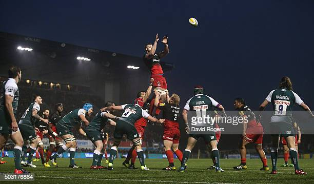 George Kruis of Saracens wins the lineout ball during the Aviva Premiership match between Saracens and Leicester Tigers at Allianz Park on January 2...