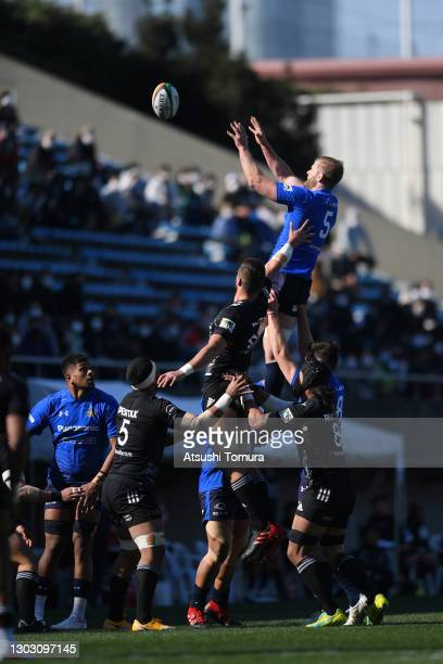 George Kruis of the Panasonic Wild Knights wins a line out during the Top League match between Panasonic Wild Knights and Ricoh Black Rams at...