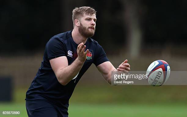 George Kruis passes the ball during the England training session held at Pennyhill Park on November 24 2016 in Bagshot England