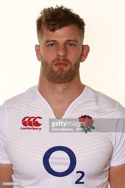 George Kruis poses during the England EPS Six Nations Squad Portrait session at Pennyhill Park on January 25 2016 in Bagshot England