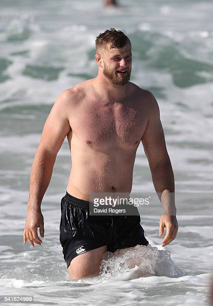 George Kruis walks out of the surf during the England recovery session held at Coogee Beach on June 20 2016 in Sydney Australia