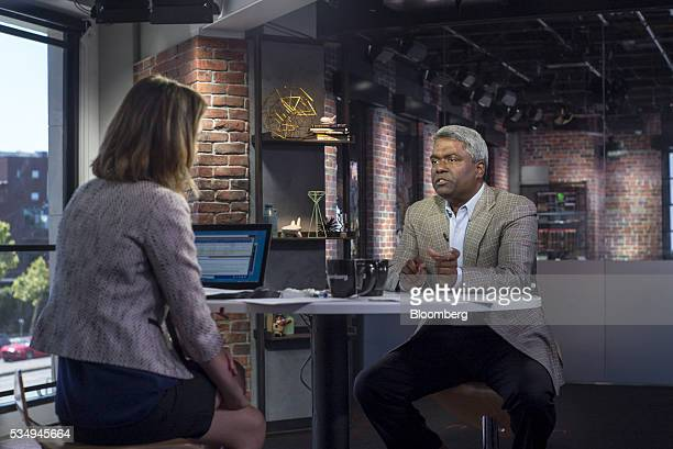 George Kurian chief executive officer of NetApp Inc speaks during a Bloomberg West Television interview in San Francisco California US on Friday May...