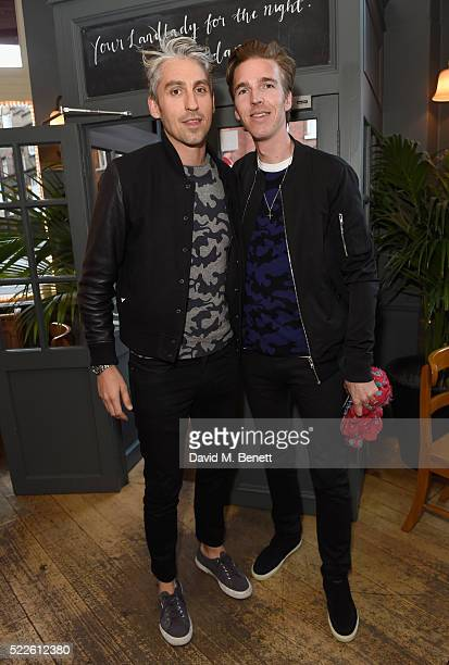 George Lamb and James Cook attend the Zoe Jordan KNITLAXY Quiz Night at The Larrik Pub on April 20 2016 in London England