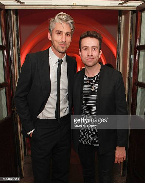 George Lamb and Nick Grimshaw attend a fundraising event in aid of the Nepal Youth Foundation hosted by David Walliams at Banqueting House on October...