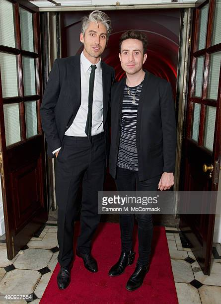 George Lamb and Nick Grimshaw attend a fundraising event in aid of the Nepal Youth Foundation at Banqueting House on October 1 2015 in London England