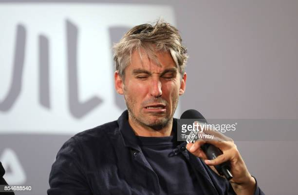 George Lamb discussing his new television programme 'Britain by Bike with Larry and George Lamb' during a BUILD LND event at AOL on September 27 2017...