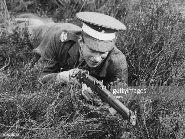 George Lascelles - a nephew of the King of England - during a military exercise of Eton Collgge Officers Training Corps. Pirbright. 11th March 1938....