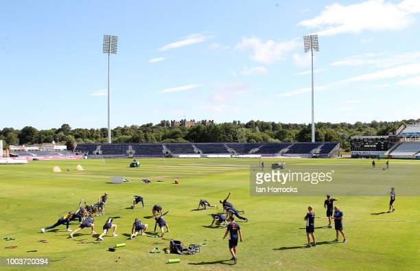 George Lavelle during an England Lions nets session at Emirates Riverside on July 22 2018 in ChesterleStreet England