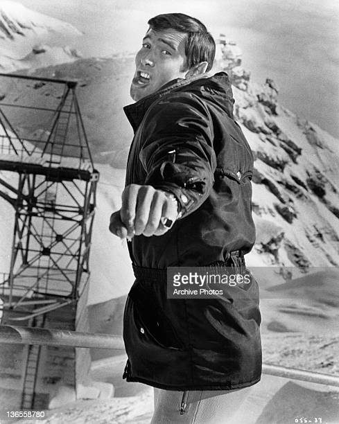 George Lazenby in a bellicose moment at the Alpine setting in a scene from the film 'On Her Majesty's Secret Service' 1969
