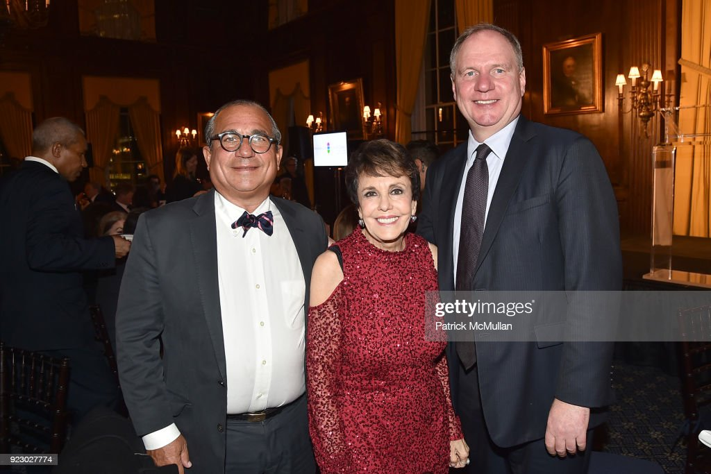 George Ledes, Linda Marshall and Achim Daub attend Symrise's Achim Daub & ReVive's Elena Drell Szyfer honored at BEYOND BEAUTY Dinner 2018; Special Speaker: Actor and Mental Health Advocate Danielle Lauder at The Union League Club on February 15, 2018 in New York City.