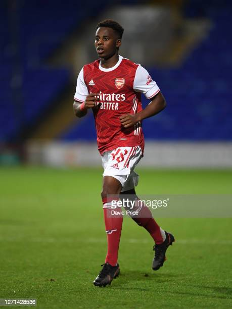 George Lewis of Arsenal during the Leasingcom Cup match between Ipswich Town and Arsenal U21 at Portman Road on September 08 2020 in Ipswich England