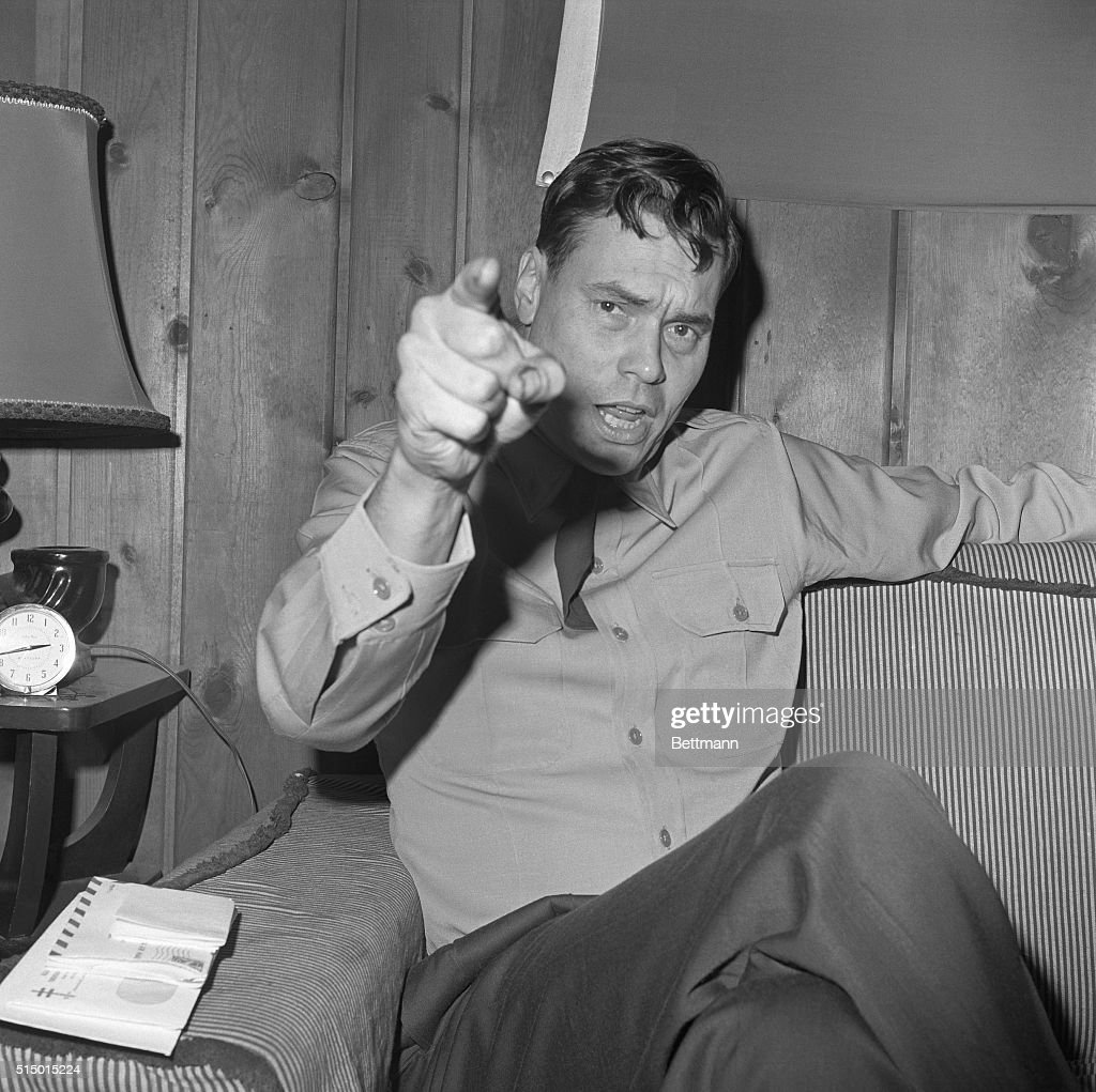 George Lincoln Rockwell Pointing a Finger to Camera : News Photo