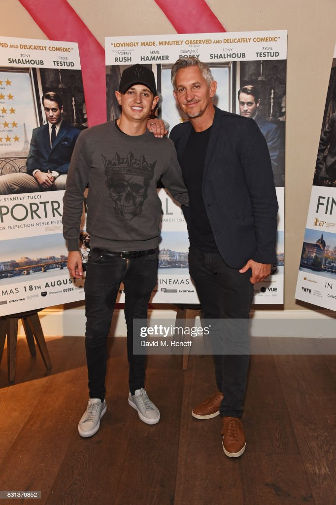 George Lineker (L) and Gary Lineker attend the Gala Screening of 'Final Portrait' at The Ham Yard Hotel on August 14, 2017 in London, England.