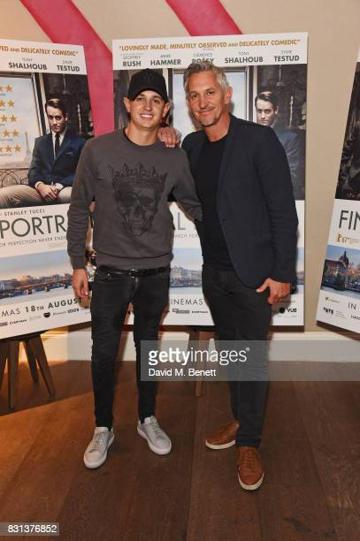 """George Lineker and Gary Lineker attend the Gala Screening of """"Final Portrait"""" at The Ham Yard Hotel on August 14, 2017 in London, England."""