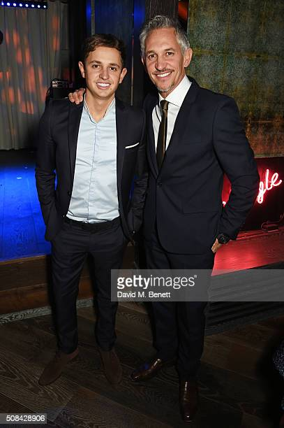 George Lineker and Gary Lineker attend the InStyle EE Rising Star party ahead of the EE BAFTA Awards at 100 Wardour Street on February 4 2016 in...