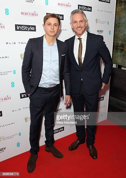 George Lineker and Gary Lineker attends the InStyle EE Rising Star PreBAFTA Party at 100 Wardour Street on February 4 2016 in London England