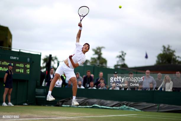 George Loffhagen of Great Britain in action against Rudolf Molleker of Germany in the Boys' Singles Tournament during the Wimbledon Lawn Tennis...
