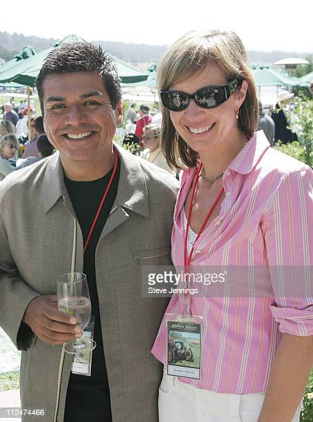 George Lopez and Allison Janney during General Motors at Concours D'Elegance at Pebble Beach in Pebble Beach, California, United States.