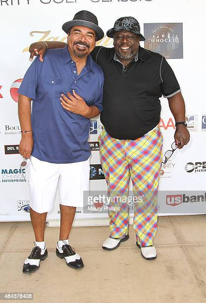 George Lopez and Cedric 'The Entertainer' arrive at the 3rd Annual Celebrity Golf Classic hosted by Cedric 'The Entertainer' at Spanish Hills Country...