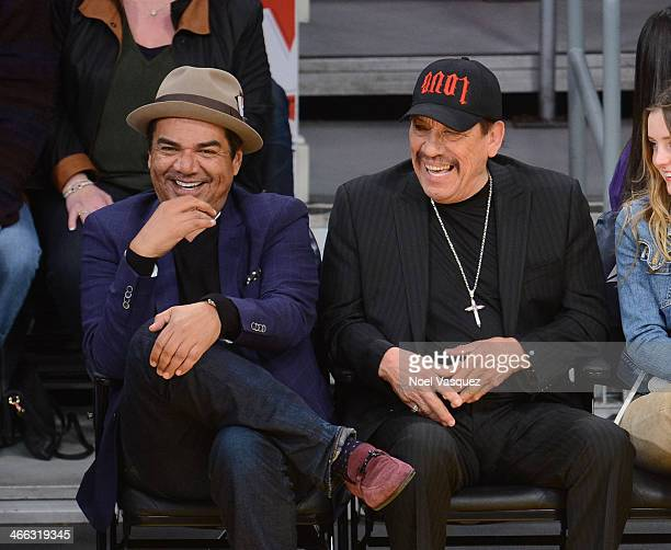 George Lopez and Danny Trejo attend a basketball game between the Charlotte Bobcats and the Los Angeles Lakers at Staples Center on January 31 2014...