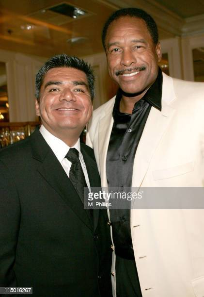 George Lopez and Dave Winfield during Archbishop Desmond Tutu's 75th Birthday Party in Beverly Hills California United States