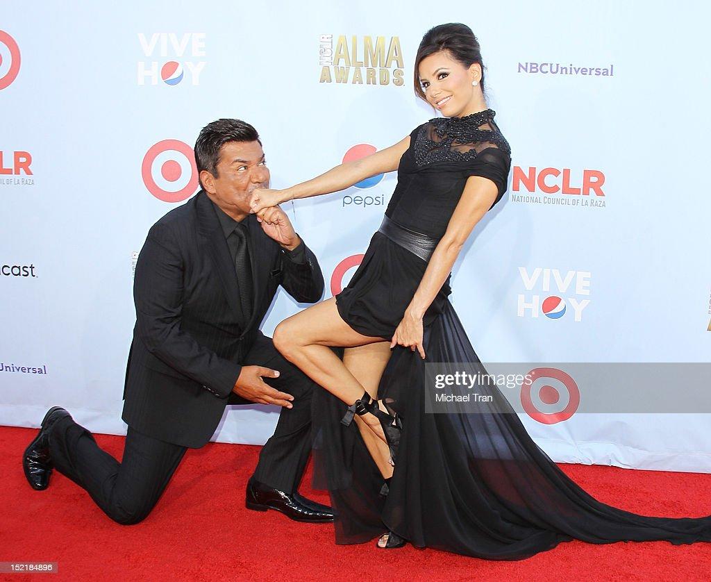 George Lopez (L) and Eva Longoria arrive at the NCLR 2012 ALMA Awards held at Pasadena Civic Auditorium on September 16, 2012 in Pasadena, California.