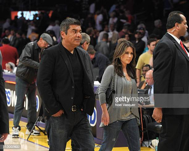George Lopez and guest attend a game between the Oklahoma City Thunder and the Los Angeles Lakers at Staples Center on April 10 2011 in Los Angeles...