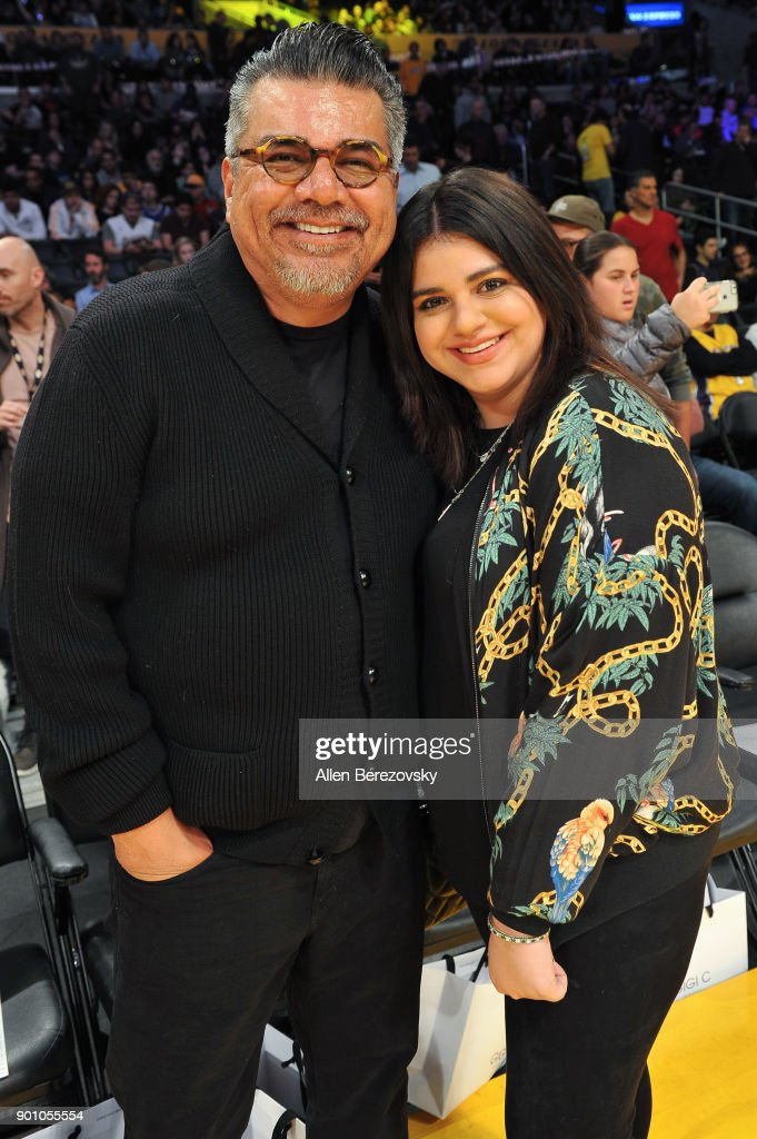 George Lopez and Mayan Lopez attend a basketball game between the Los Angeles Lakers and the Oklahoma City Thunder at Staples Center on January 3, 2018 in Los Angeles, California.