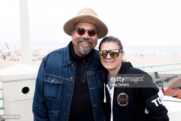 George Lopez and Mia Hamm attend the 6th Annual Tour de Pier at Manhattan Beach Pier on May 20 2018 in Manhattan Beach California