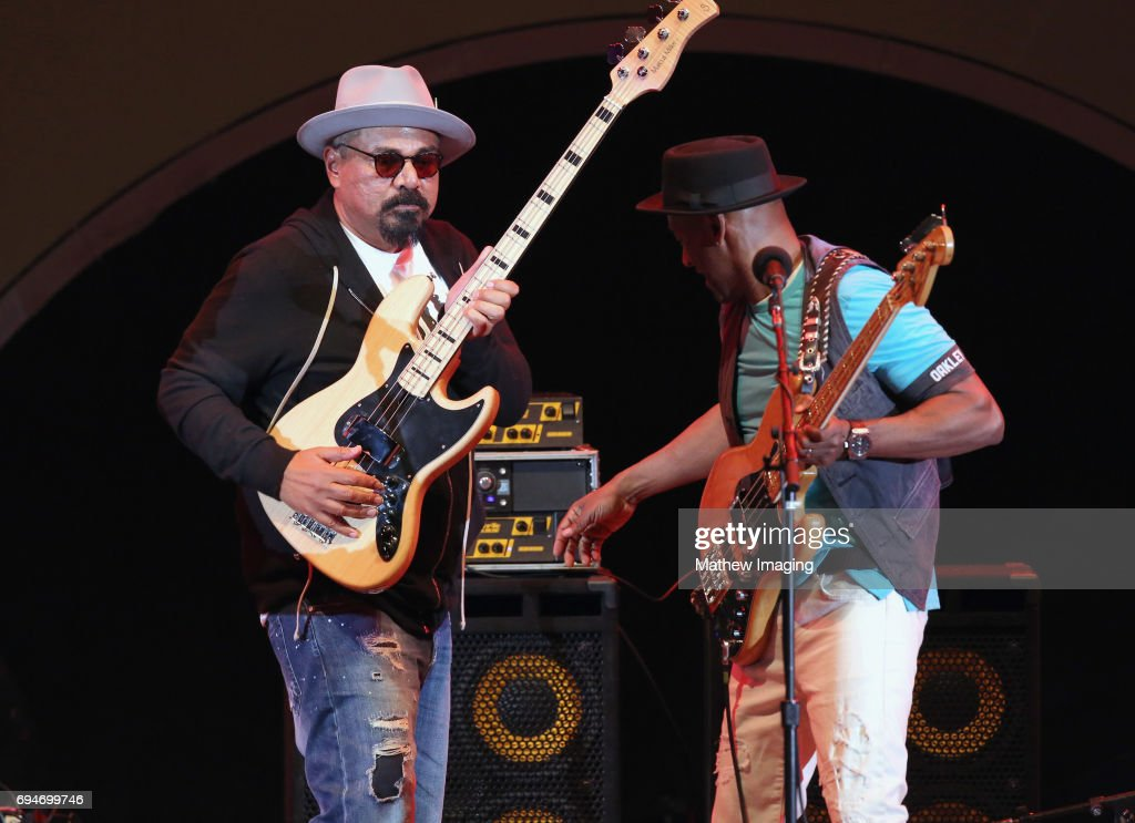 George Lopez (L) and Musician Marcus Miller perform onstage at the Hollywood Bowl Presents the 39th Anniversary Playboy Jazz Festival at the Hollywood Bowl on June 10, 2017 in Hollywood, California.