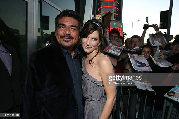 George Lopez and Sandra Bullock during Tri Star Pictures Presents the World Premiere of Premonition at Cinerama Dome in Hollywood California United...