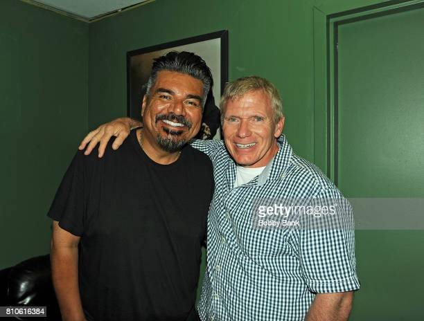 George Lopez and Vinnie Brand backstage at The Stress Factory Comedy Club on July 7, 2017 in New Brunswick, New Jersey.