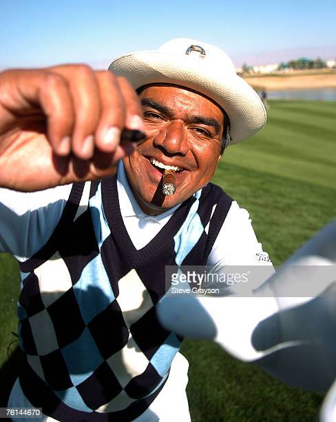 George Lopez attempts to sign photographers's lens during the fourth round of the 2007 Bob Hope Chrysler Classic at Classic Club in Palm Desert...