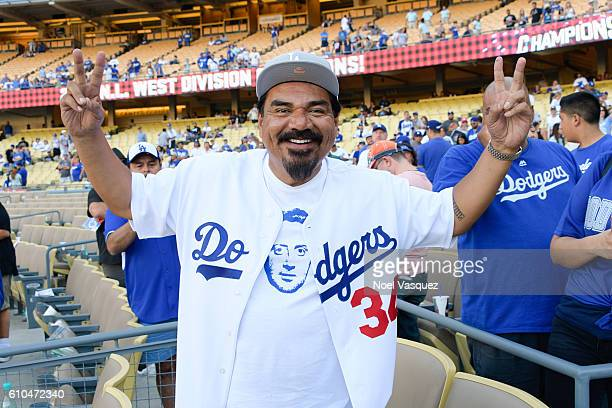 George Lopez attends a baseball game between the Colorado Rockies and the Los Angeles Dodgers at Dodger Stadium on September 25 2016 in Los Angeles...