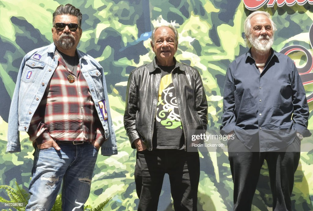 George Lopez, Cheech Marin, and Tommy Chong onstage at the Key to The City of West Hollywood Award Ceremony at The Roxy Theatre on April 16, 2018 in West Hollywood, California.
