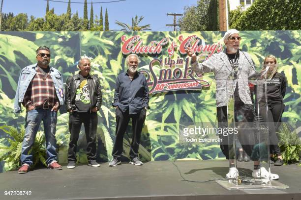 George Lopez Cheech Marin Tommy Chong and Lou Adler onstage at the Key to The City of West Hollywood Award Ceremony at The Roxy Theatre on April 16...