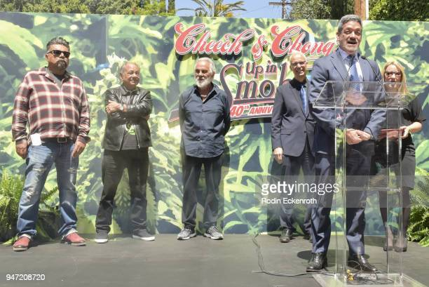 George Lopez Cheech Marin Tommy Chong West Hollywood Mayor John Heilman and West Hollywood Mayor Pro Tempore John J Duran speak onstage at Cheech...