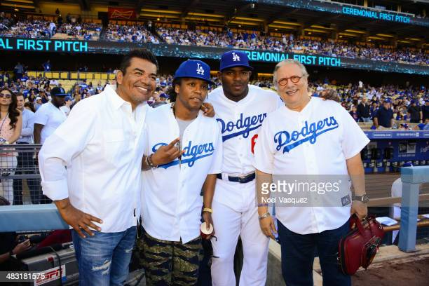 George Lopez Lupe Fiasco Yasiel Puig and Arturo Sandoval attend pre game ceremonies at baseball game between the San Francisco Giants and the Los...